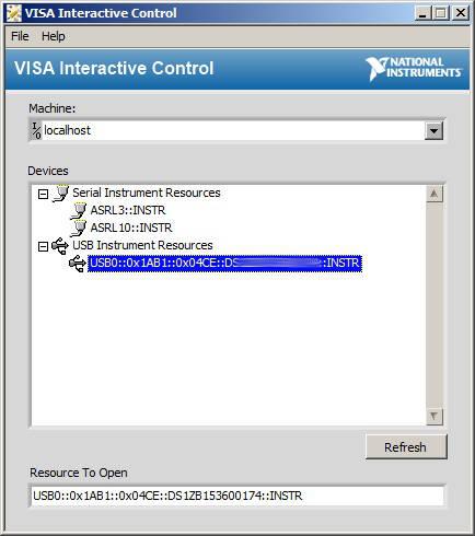 Rigol oscilloscope remote control with NI-Visa (SCPI commands) - BNC